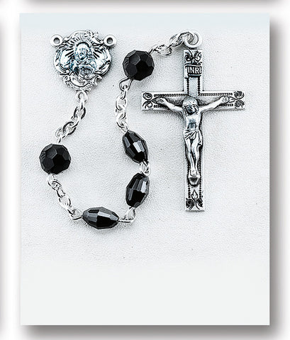 Jet Black Oval Swarovski Crystal Sterling Rosary