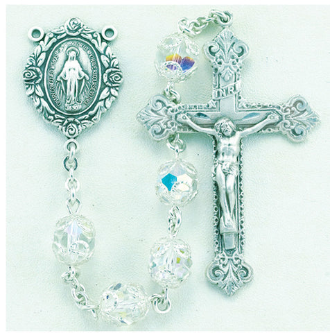Double Capped Crystal Swarovski Sterling Rosary