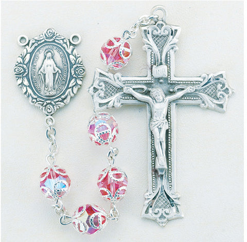 Double Capped Pink Swarovski Crystal Sterling Rosary