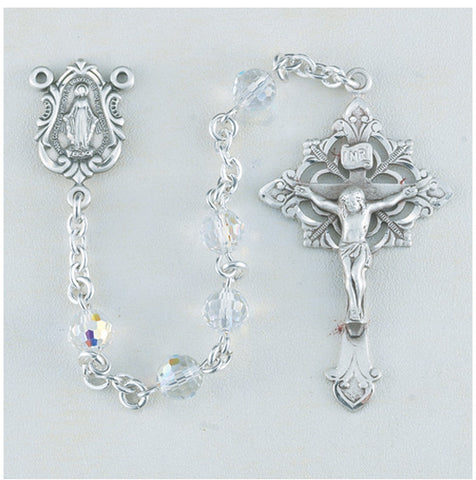 Faceted Round Aurora Swarovski Sterling Rosary