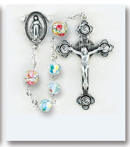 Swarovski Crystal and Venetian Glass Sterling Rosary