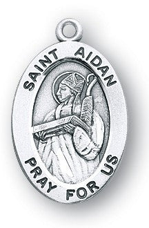 Saint Aidan Oval Sterling Silver Medal