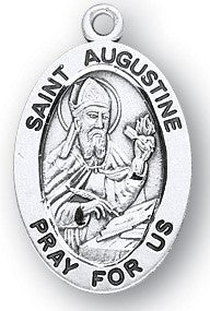 Saint Augustine Oval Sterling Silver Medal