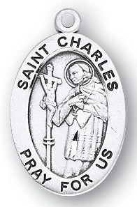 Saint Charles Oval Sterling Silver Medal