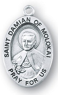 Saint Damian of Molokai Oval Sterling Silver Medal