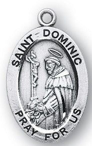 Saint Dominic Oval Sterling Silver Medal