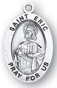 Saint Eric Oval Sterling Silver Medal