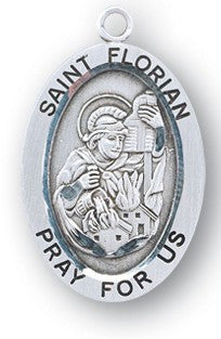 Sterling Silver Oval Shaped St. Florian Medal