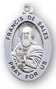 Sterling Silver Oval Shaped Saint Francis De Sales Medal