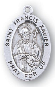 Saint Francis Xavier Oval Sterling Silver Medal