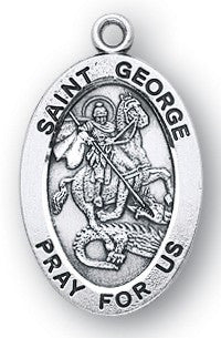 Saint George Oval Sterling Silver Medal