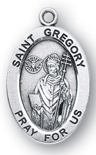 Saint Gregory Oval Sterling Silver Medal