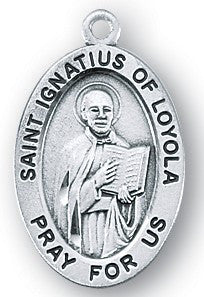 Saint Ignatius of Loyola Oval Sterling Silver Medal