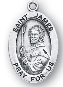 Saint James Oval Sterling Silver Medal