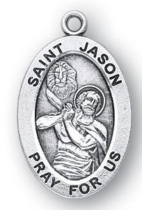 Saint Jason Oval Sterling Silver Medal