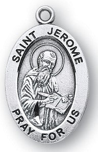 Saint Jerome Oval Sterling Silver Medal