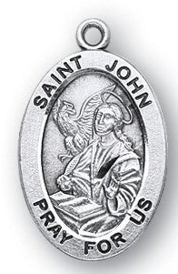 Saint John the Evangelist Oval Sterling Silver Medal