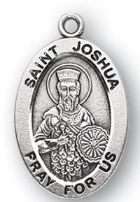 Saint Joshua Oval Sterling Silver Medal