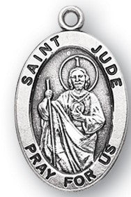 Saint Jude Oval Sterling Silver  Medal