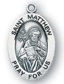 Saint Matthew Oval Sterling Silver Medal