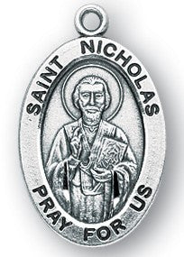 Saint Nicholas Oval Sterling Silver Medal
