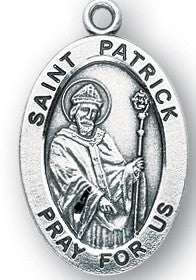 Saint Patrick Oval Sterling Silver Medal