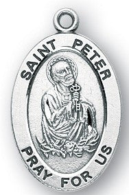 Saint Peter Oval Sterling Silver Medal