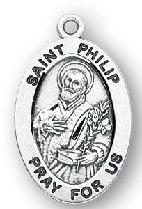 Saint Phillip Oval Sterling Silver Medal