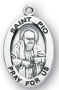 Saint Pio Oval Sterling Silver Medal