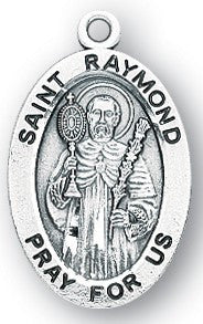 Saint Raymond Oval Sterling Silver Medal