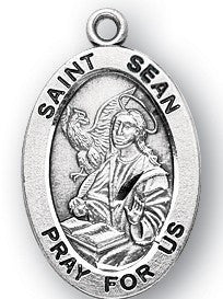 Saint Sean Oval Sterling Silver Medal