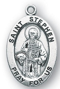 Saint Stephen Oval Sterling Silver Medal