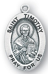 Saint Timothy Oval Sterling Silver Medal