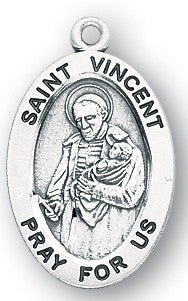 Saint Vincent de Paul Oval Sterling Silver Medal