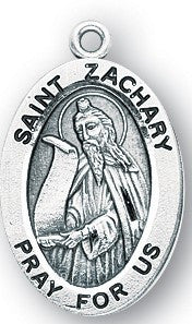 Saint Zachary Oval Sterling Silver Medal
