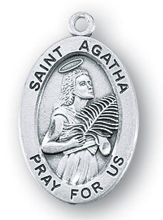 Saint Agatha Oval Sterling Silver Medal