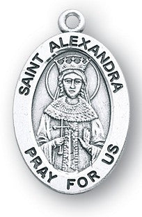 Saint Alexandra Oval Sterling Silver Medal