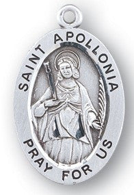 Saint Apollonia Oval Sterling Silver Medal
