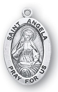 Saint Angela Oval Sterling Silver Medal