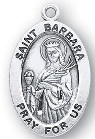 Saint Barbara Oval Sterling Silver Medal