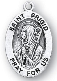 Saint Brigid Oval Sterling Silver Medal