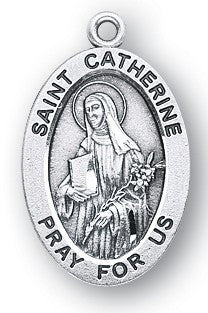Saint Catherine of Siena Oval Sterling Silver Medal