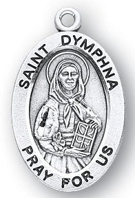 Saint Dymphna Oval Sterling Silver Medal