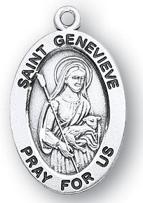 Saint Genevieve Oval Sterling Silver Medal