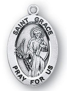 Saint Grace Oval Sterling Silver Medal