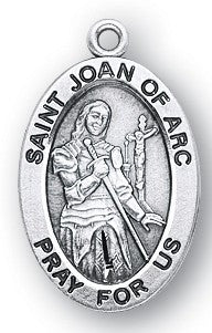 Saint Joan of Arc Oval Sterling Silver Medal
