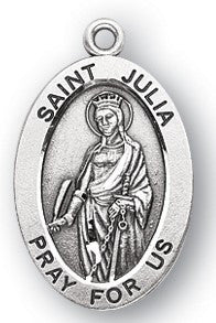 Saint Julia Oval Sterling Silver Medal
