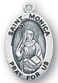 Saint Monica Oval Sterling Silver  Medal