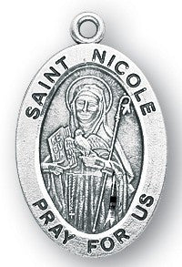 Saint Nicole Oval Sterling Silver Medal