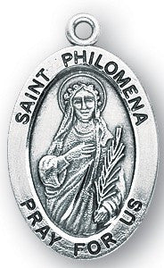 Saint Philomena Oval Sterling Silver Medal